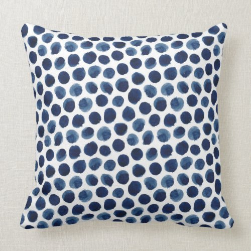 Large Indigo/Blue Watercolor Polka Dot Pattern Throw Pillow
