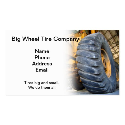 Large Industrial Tire Repair and Service Double-Sided Standard Business Cards (Pack Of 100)
