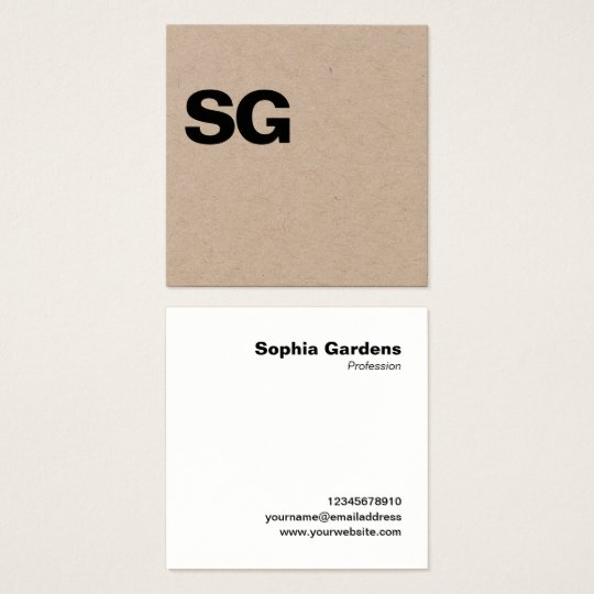 Large initials square kraft square business card zazzle large initials square kraft square business card reheart Image collections