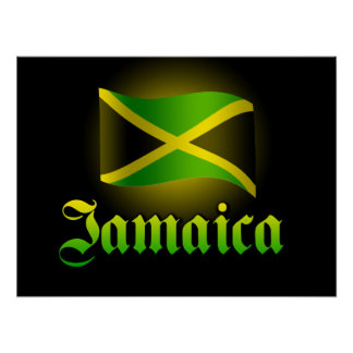 Large Jamaica Flag Poster, Black with Yellow Glow Poster