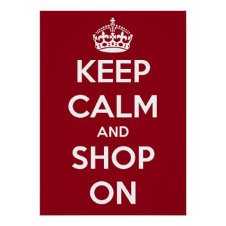 Large Keep Calm and Shop On Poster