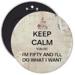 Large Keep Calm Fiftieth Birthday Button