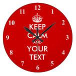 Large Keep Calm wall clock | Customizable design