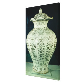 Large 'Kuoan' vase decorated with blue flowers Canvas Print