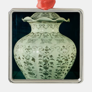 Large 'Kuoan' vase decorated with blue flowers Ornaments