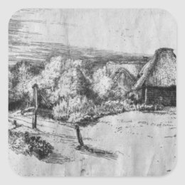 Large Landscape with a Tower, c.1650 Square Sticker
