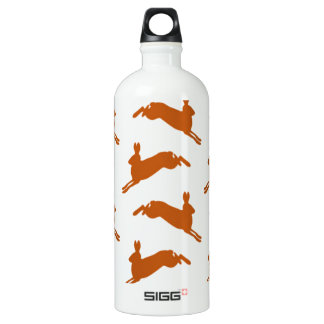 Large Leaping Hares Fawn Brown Aluminum Water Bottle