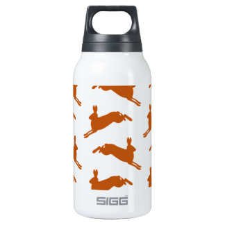 Large Leaping Hares Fawn Brown Insulated Water Bottle