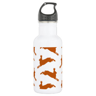 Large Leaping Hares Fawn Brown Stainless Steel Water Bottle