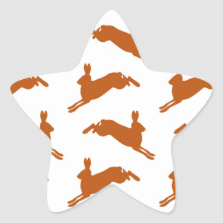 Large Leaping Hares Fawn Brown Star Sticker