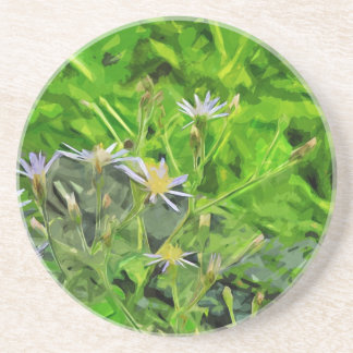 Large Leaved Purple Aster Among Ashes Abstract Drink Coaster