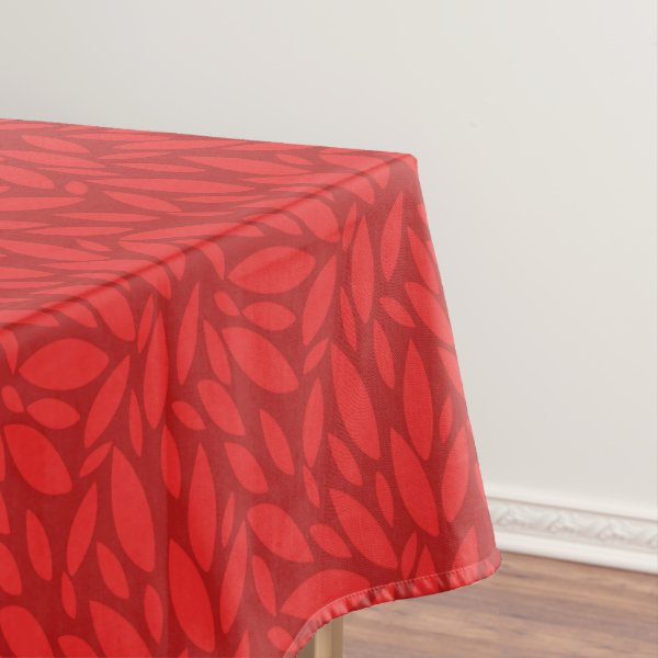 Large leaves two toned red orange tablecloth