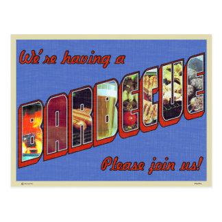 Large Letter Barbecue Invitation Postcard