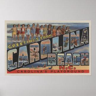 Large Letter Scenes - Carolina Beach, NC Poster