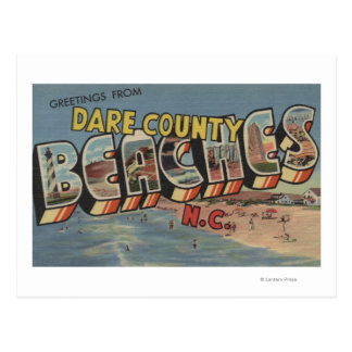 Large Letter Scenes - Dare County Beaches, NC Post Card