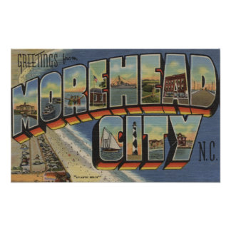 Large Letter Scenes - Morehead City, NC Poster