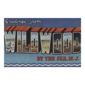 Large Letter Scenes - Wildwood-By-The-Sea, NJ Poster