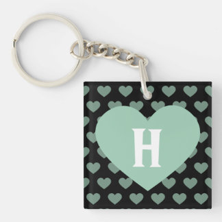Large Light Green Heart & Black Background Keychain