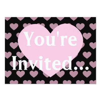 Large Light Pink Heart Monogram & Black Background Card