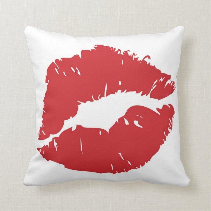 How Big Should Throw Pillows Be : Large lip-print throw pillow. throw pillow Zazzle