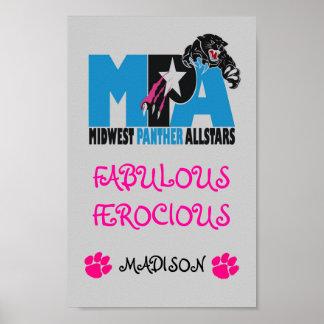 Large Logo, Panther%209[1], pink paw, pink paw,... Poster