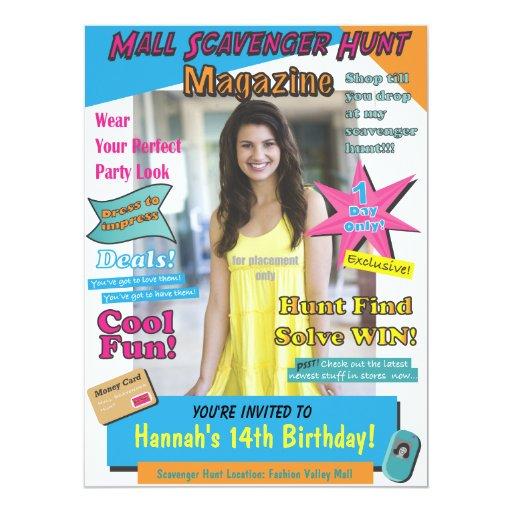 Large Mall Scavenger Hunt Birthday Magazine Cover 6.5x8.75 Paper Invitation Card