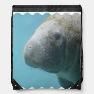 Large Manatee Underwater Drawstring Bag