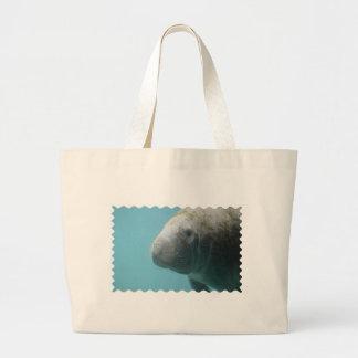 Large Manatee Underwater Large Tote Bag
