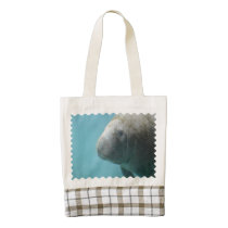 Large Manatee Underwater Zazzle HEART Tote Bag
