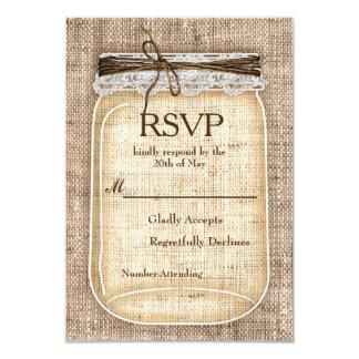 Large Mason Jar & Burlap Lace Rustic Wedding RSVP Card