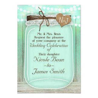 Large Mason Jar & Lights Mint Green Rustic Wedding Card