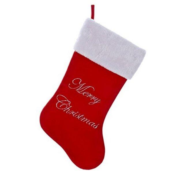 Large 'Merry Christmas' Velvet Christmas Stocking