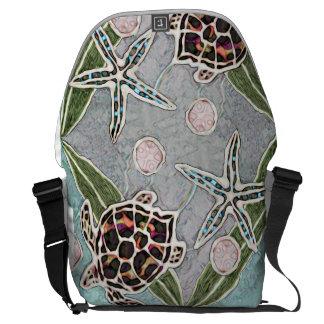 Large Messenger Bag Turtle & Starfish Dance