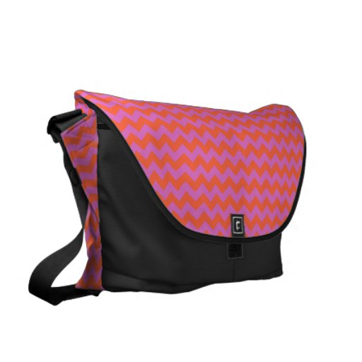 Large Messenger Bag with Pink and Orange Zigzags