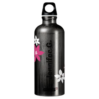 Large modern flower print personalized name yellow water bottle