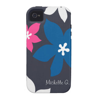 Large modern flower print personalized navy pink iPhone 4 cover