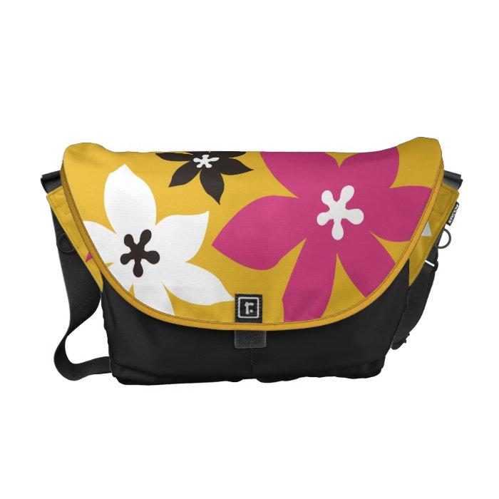 Large modern flower print yellow hot pink black courier bag