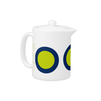 Large Modern Lime Green Dots on Navy Personalized Teapot