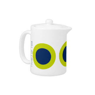 Large Modern Navy Blue Dots on Lime Personalized Teapot