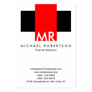 Large Monogram Black White Red Clean Large Business Card