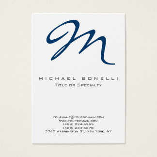 Large Monogram Blue Calligraphy Business Card