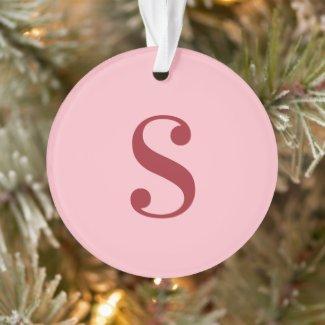 Large Monogram Pink Burgundy Ornament