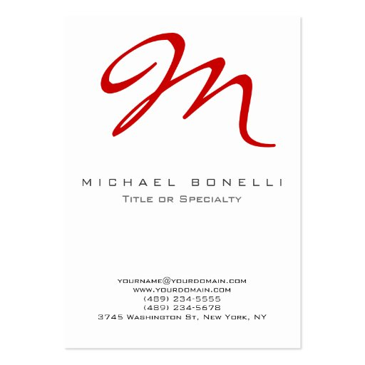 Large Monogram Red Calligraphy Business Card Zazzle