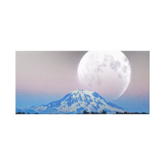 Large Moon Over Mt. Rainier Canvas Print