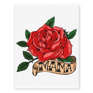 Large Mothers Day Rose Temporary Tattoos