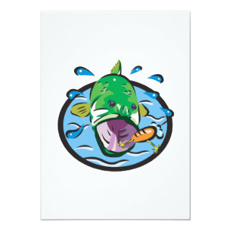 Large Mouth Bass 2 5x7 Paper Invitation Card