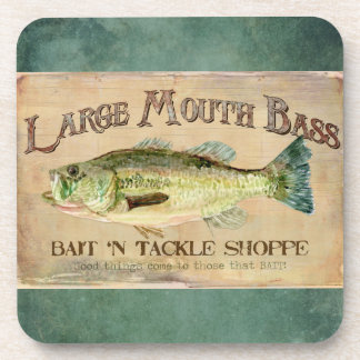 Large Mouth Bass Bait n Tackle Lake Decor Drink Coaster