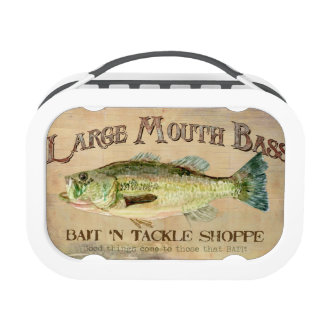 Large Mouth Bass Bait n Tackle Lake Decor Lunch Box