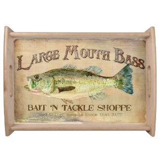 Large Mouth Bass Bait n Tackle Lake Decor Food Trays