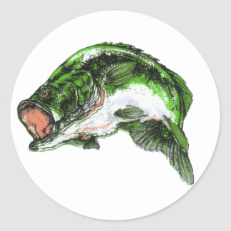 Large mouth Bass Classic Round Sticker